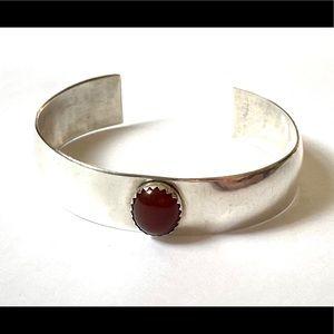 Carnelian Sterling Silver Cuff Bracelet 925
